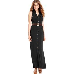 Michael Kors Maxi Shirt Dress Cargo Brown Dress S